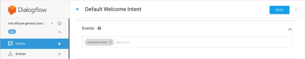 Eventos personalizados en Dialogflow