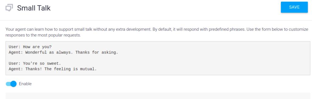 Built-in Small Talk habilitado en la consola de Dialogflow